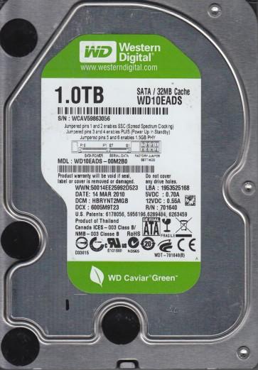 WD10EADS-00M2B0, DCM HBRYNT2MGB, Western Digital 1TB SATA 3.5 Hard Drive