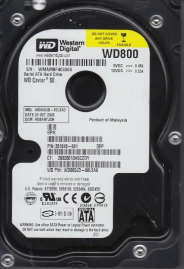 WD800JD-60LSA0, DCM HSBANTJCH, Western Digital 80GB SATA 3.5 Hard Drive