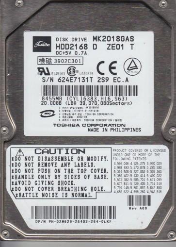 MK2018GAS, A0/Q2.03D, HDD2168 D ZE01 T, Toshiba 20GB IDE 2.5 Hard Drive