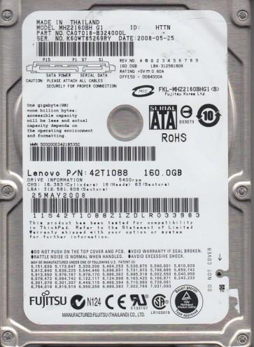 MHZ2160BH G1, PN CA07018-B324000L, Fujitsu 160GB SATA 2.5 Hard Drive