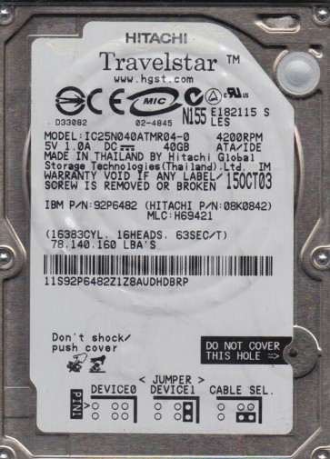IC25N040ATMR04-0, PN 08K0842, MLC H69421, Hitachi 40GB IDE 2.5 Hard Drive