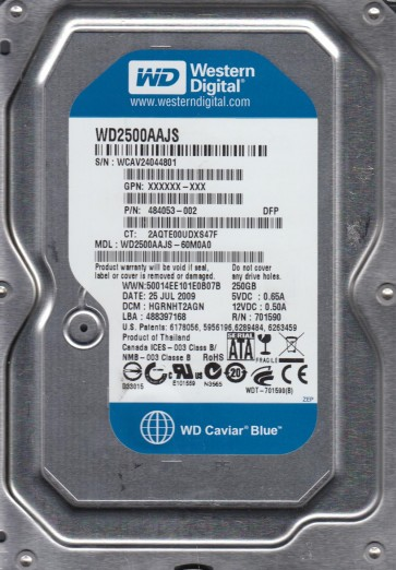 WD2500AAJS-60M0A0, DCM HGRNHT2AGN, Western Digital 250GB SATA 3.5 Hard Drive