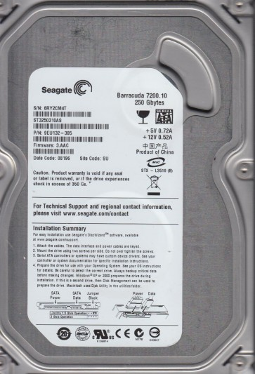ST3250310AS, 6RY, SU, PN 9EU132-305, FW 3.AAC, Seagate 250GB SATA 3.5 Hard Drive