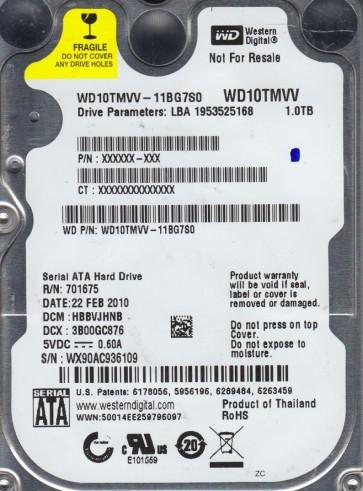 WD10TMVV-11BG7S0, DCM HBBVJHNB, Western Digital 1TB USB 2.5 Hard Drive