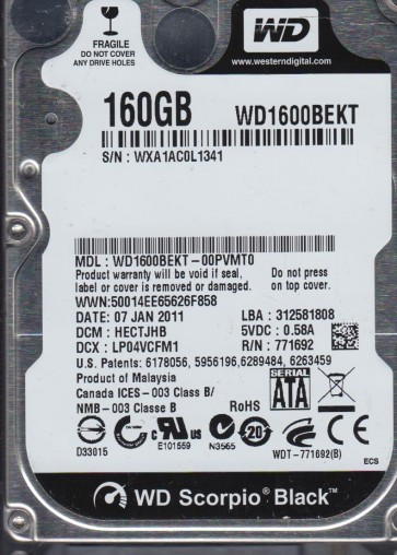 WD1600BEKT-00PVMT0, DCM HECTJHB, Western Digital 160GB SATA 2.5 Hard Drive