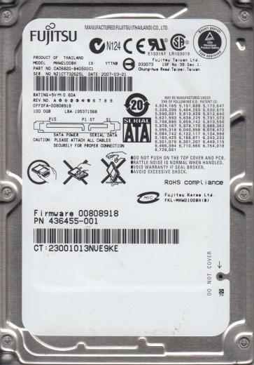 MHW2100BH, PN CA06820-B40500C1, Fujitsu 100GB SATA 2.5 Hard Drive
