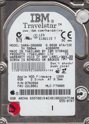 DARA-206000, PN 07N3994, MLC F79806, IBM 6GB IDE 2.5 Hard Drivee