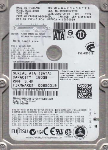 MJA2160BH G2, PN CA07083-B56200DL, Fujitsu 160GB SATA 2.5 Hard Drive