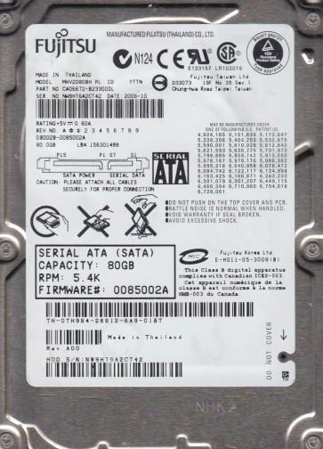 MHV2080BH PL, PN CA06672-B23300DL, Fujitsu 80GB SATA 2.5 Hard Drive