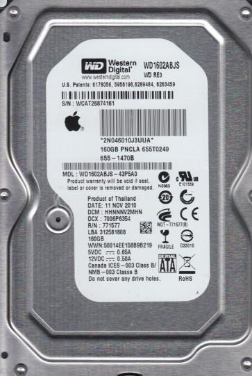 WD1602ABJS-43P5A0, DCM HHNNNV2MHN, Western Digital 160GB SATA 3.5 Hard Drive