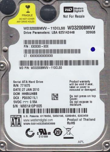 WD3200BMVV-11DCLS0, DCM HHBVJHBB, Western Digital 320GB USB 2.5 Hard Drive