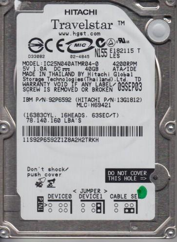 IC25N040ATMR04-0, PN 13G1812, MLC H69421, Hitachi 40GB IDE 2.5 Hard Drive