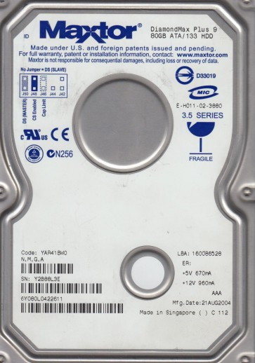 6Y080L0, Code YAR41BW0, NMGA, Maxtor 80GB IDE 3.5 Hard Drive