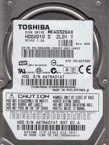 MK4032GAX, C0/AD102D, HDD2D10 D ZL01 T, Toshiba 40GB IDE 2.5 Hard Drive