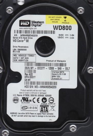 WD800JD-75MSA1, DCM HSBHYTJCA, Western Digital 80GB SATA 3.5 Hard Drive