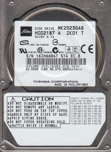 MK2023GAS, A0/MB001A, HDD2187 A ZK01 T, Toshiba 20GB IDE 2.5 Hard Drive