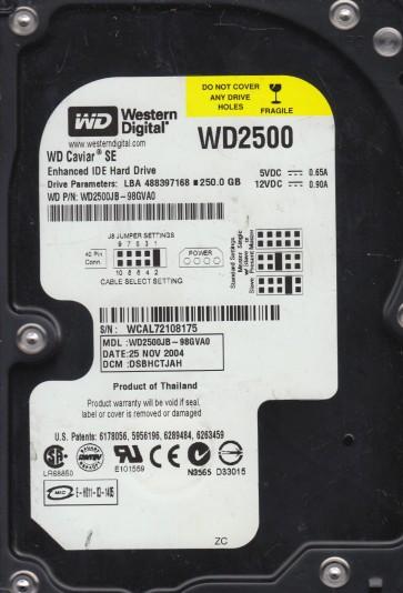 WD2500JB-98GVA0, DCM DSBHCTJAH, Western Digital 250GB IDE 3.5 Hard Drive
