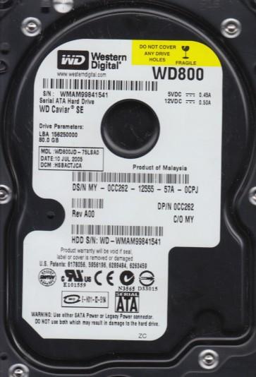 WD800JD-75LSA0, DCM HSBACTJCA, Western Digital 80GB SATA 3.5 Hard Drive