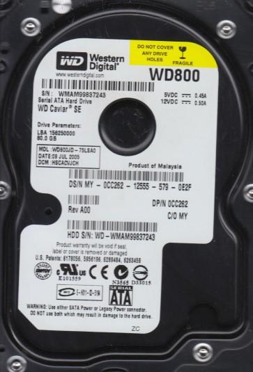 WD800JD-75LSA0, DCM HSCACVJCH, Western Digital 80GB SATA 3.5 Hard Drive