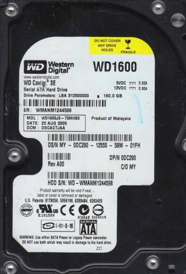 WD1600JS-75MHB0, DCM DSCACTJAA, Western Digital 160GB SATA 3.5 Hard Drive