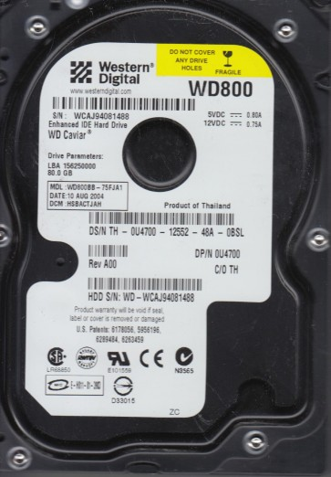 WD800BB-75FJA1, DCM HSBACTJAH, Western Digital 80GB IDE 3.5 Hard Drive