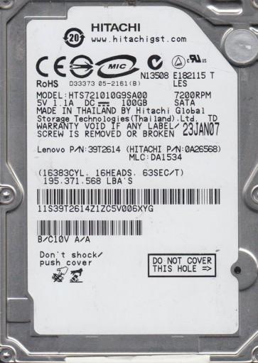 HTS721010G9SA00, PN 0A26568, MLC DA1534, Hitachi 100GB SATA 2.5 Hard Drive