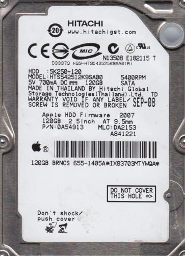 HTS542512K9SA00, PN 0A54913, MLC DA2153, Hitachi 120GB SATA 2.5 Hard Drive