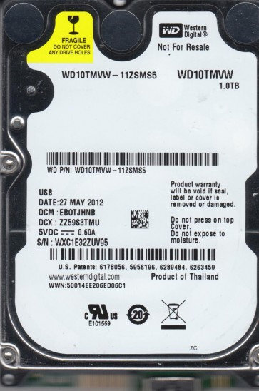 WD10TMVW-11ZSMS5, DCM EBOTJHNB, Western Digital 1TB USB 2.5 Hard Drive