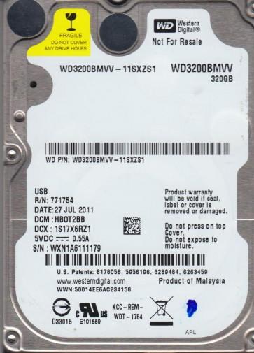 WD3200BMVV-11SXZS1, DCM HBOT2BB, Western Digital 320GB USB 2.5 Hard Drive