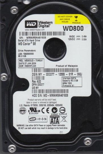 WD800JD-75MSA1, DCM HSBHNTJAH, Western Digital 80GB SATA 3.5 Hard Drive