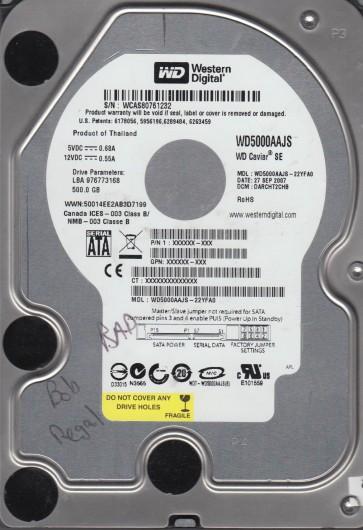 WD5000AAJS-22YFA0, DCM DARCHT2CHB, Western Digital 500GB SATA 3.5 Hard Drive