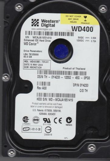 WD400BB-75FJA1, DCM HSCHCTJCH, Western Digital 40GB IDE 3.5 Hard Drive
