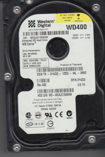 WD400BB-75FJA1, DCM HSBHCVJCH, Western Digital 40GB IDE 3.5 Hard Drive