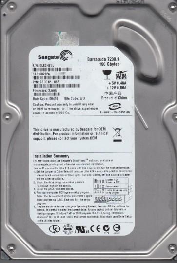 ST3160212A, 5LS, WU, PN 9BD012-065, FW 3.AAE, Seagate 160GB IDE 3.5 Hard Drive