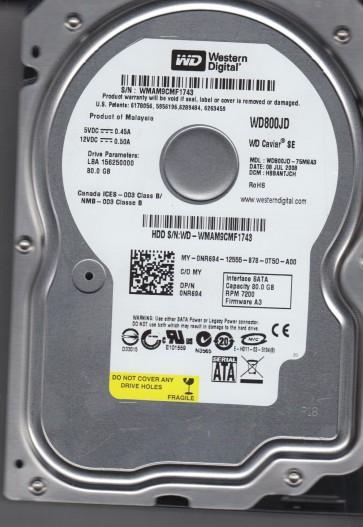 WD800JD-75MSA3, DCM HBBANTJCH, Western Digital 80GB SATA 3.5 Hard Drive