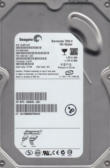 ST3160812AS, 5LS, WU, PN 9BD132-620, FW 3.AHH, Seagate 160GB SATA 3.5 Hard Drive
