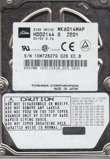 MK6014MAP, C0/N2.10A, HDD2144 G ZE01, Toshiba 6GB IDE 2.5 Hard Drive