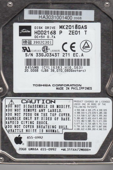 MK2018GAS, A2/Q2.03B, HDD2168 P ZE01 T, Toshiba 20GB IDE 2.5 Hard Drive