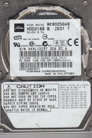 MK8025GAS, B0/KA024A, HDD2188 B ZE01 T, Toshiba 80GB IDE 2.5 Hard Drive