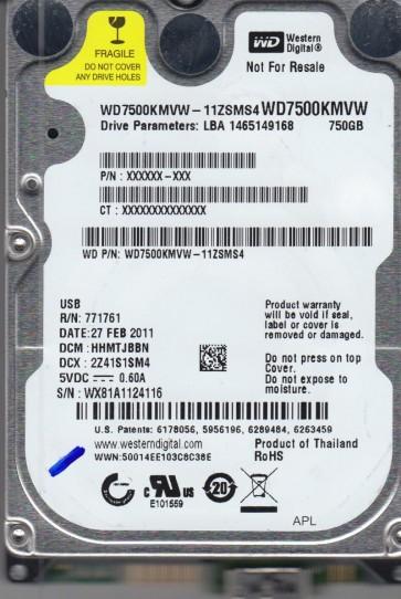 WD7500KMVW-11ZSMS4, DCM HHMTJBBN, Western Digital 750GB USB 2.5 Hard Drive