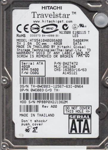 HTS541040G9SA00, PN 0A27472, MLC DA1340, Hitachi 40GB SATA 2.5 Hard Drive