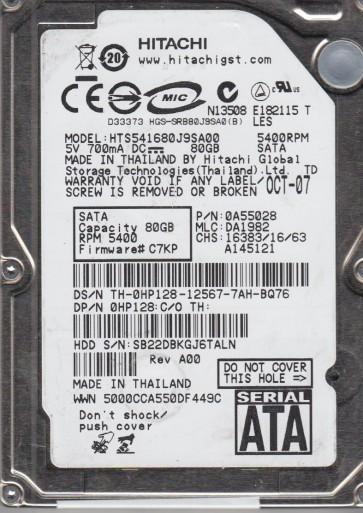 HTS541680J9SA00, PN 0A55028, MLC DA1982, Hitachi 80GB SATA 2.5 Hard Drive