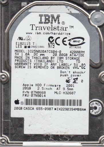 IC25N020ATCS04-0, PN 07N8668, MLC H32687, IBM 20GB IDE 2.5 Hard Drive