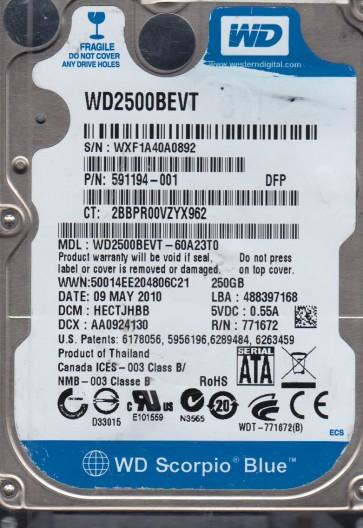 WD2500BEVT-60A23T0, DCM HECTJHBB, Western Digital 250GB SATA 2.5 Hard Drive