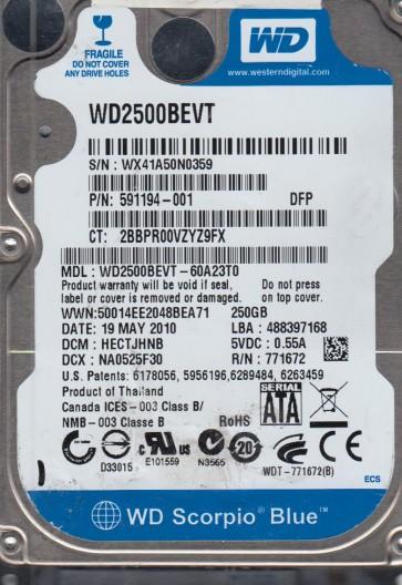 WD2500BEVT-60A23T0, DCM HECTJHNB, Western Digital 250GB SATA 2.5 Hard Drive