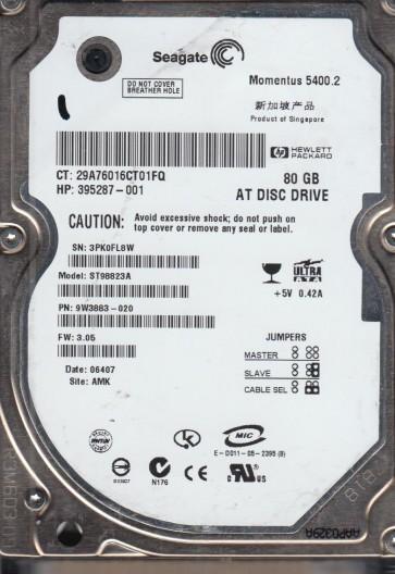 ST98823A, 3PK, AMK, PN 9W3883-020, FW 3.05, Seagate 80GB IDE 2.5 Hard Drive