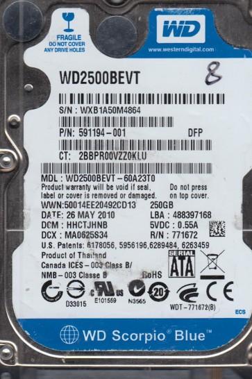 WD2500BEVT-60A23T0, DCM HHCTJHNB, Western Digital 250GB SATA 2.5 Hard Drive