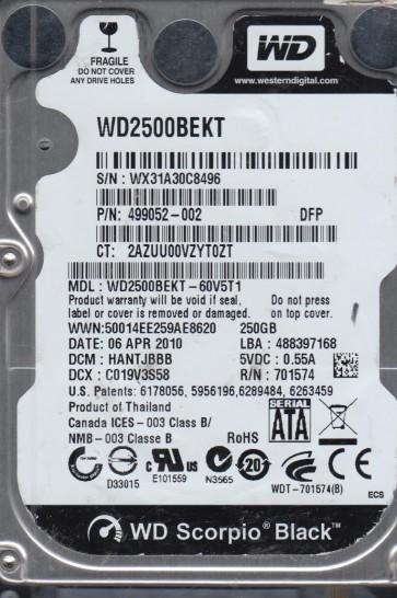WD2500BEKT-60V5T1, DCM HANTJBBB, Western Digital 250GB SATA 2.5 Hard Drive