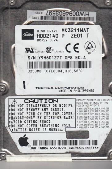 MK3211MAT, B0/J1.03G, HDD2140 P ZE01 T, Toshiba 3.2GB IDE 2.5 Hard Drive