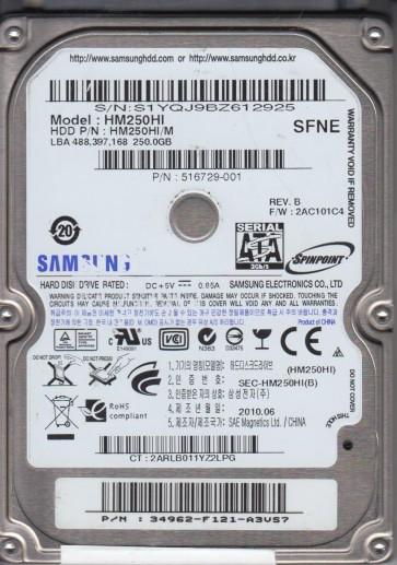 HM250HI, HM250HI/M, FW 2AC101C4, SFNE, Samsung 250GB SATA 2.5 Hard Drive